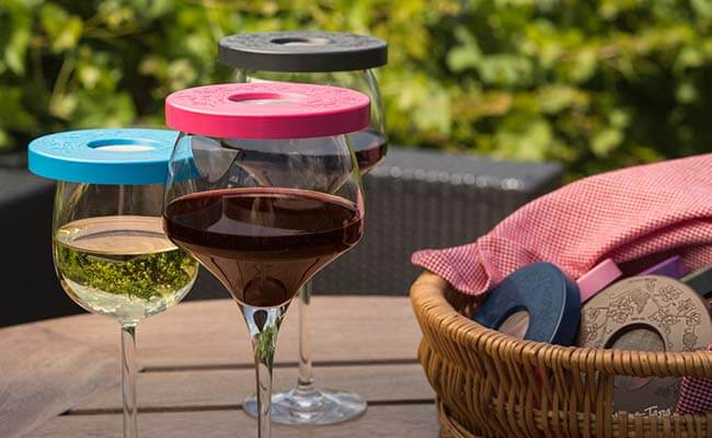 The Wine-Tapa® Covers The Glass From Pesky Bugs